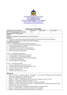 FIL 5791 Epistemologia das Ciências Humanas