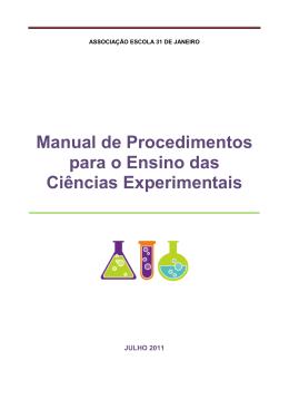 Manual de Procedimentos para o Ensino das Ciências Experimentais