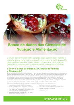Banco de dados das Ciências de Nutrição e Alimentação
