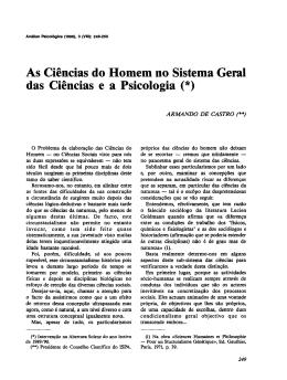 As Ciências do Homem no Sistema Geral das Ciências e a Psicologia