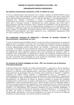RESUMO DO PROJETO PEDAGÓGICO DE CURSO - PPC