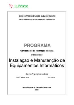 PROGRAMA Instalação e Manutenção de Equipamentos Informáticos