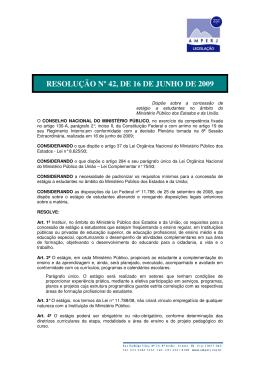 RESOLUÇÃO Nº 42, DE 16 DE JUNHO DE 2009