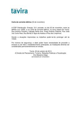 Corte de corrente elétrica (03 de novembro) A EDP Distribuição