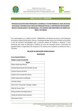 EDITAL 015.1/2014 - PROEN/IFMS PROCESSO SELETIVO PARA
