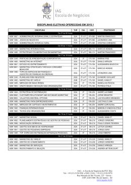 disciplinas eletivas oferecidas em 2015.1 - IAG