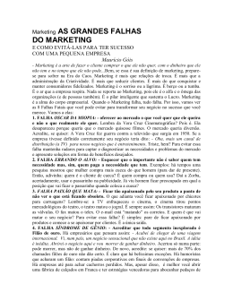Marketing AS GRANDES FALHAS DO MARKETING
