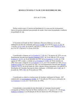 RESOLUÇÃO SEMA Nº 54, DE 22 DE DEZEMBRO DE 2006 (D.O.