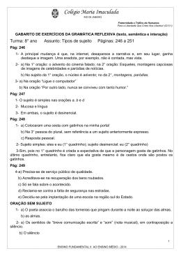 Disciplina: Ciências - Colégio Maria Imaculada