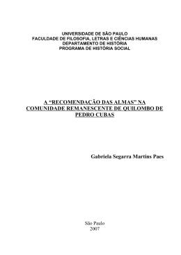 """A """"RECOMENDAÇÃO DAS ALMAS"""" NA COMUNIDADE"""
