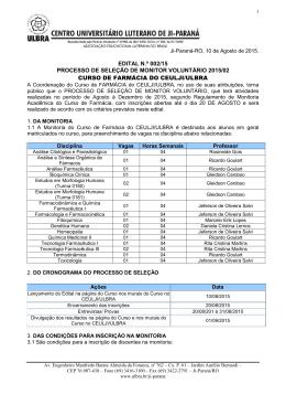 Edital Monitoria Farmácia 2015-2