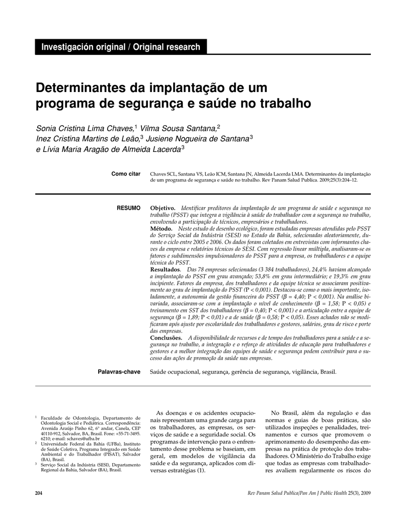 Determinantes da implantação de um programa de dc413c9431