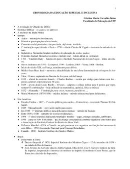 CRONOLOGIA DA EDUCAÇÃO ESPECIAL E INCLUSIVA Cristina