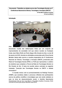 "Documento: ""Subsídios ao debate acerca das Tecnologias"