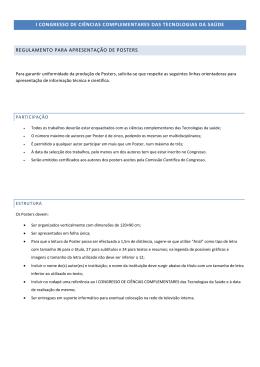 Regulamento para Apresentação de Posters