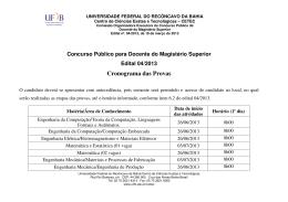 Cronograma das Provas Edital Nº 04/2013