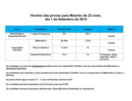 Calendário das Provas Maiores de 23 2015