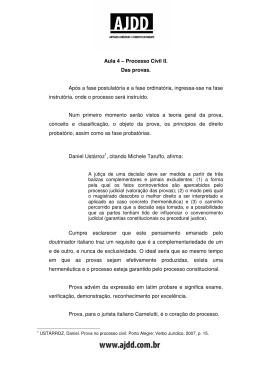 Aula 4 – Processo Civil II. Das provas. Após a fase