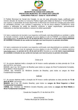 Edital n° 02_2014_PMCC - Datas das Provas - Concursos