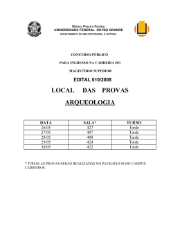 LOCAL DAS PROVAS ARQUEOLOGIA