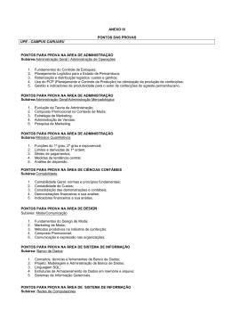 ANEXO III PONTOS DAS PROVAS UPE