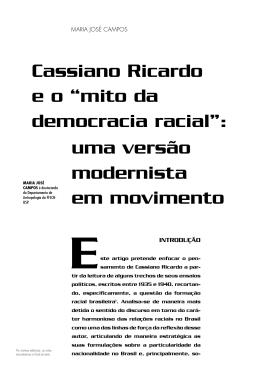 """Cassiano Ricardo e o """"mito da democracia racial"""""""