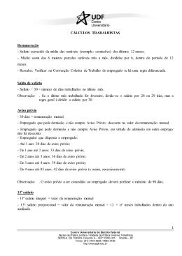 CÁLCULOS TRABALHISTAS Remuneração - Salário
