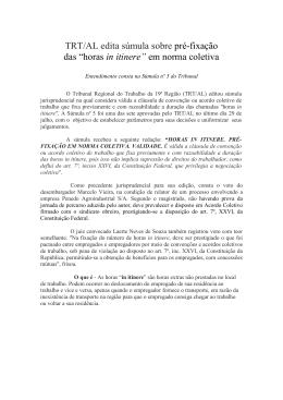 """TRT/AL edita súmula sobre pré-fixação das """"horas in itinere"""" em"""