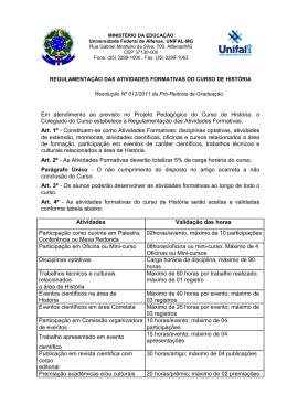 Regulamentação das Atividades Formativas - Unifal-MG