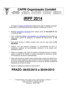 IRPF 2014 - CAPRI Organização Contábil