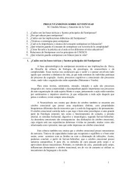1 1 PREGUNTÁNDONOS SOBRE SENTIPENSAR M. Cândida