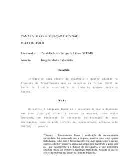Processo PGT/CCR/nº 34/2008 - Ministério Público do Trabalho