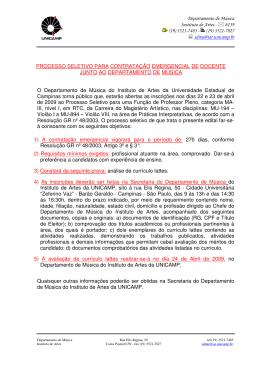 Departamento de Música Instituto de Artes - 6159 (19) 3521