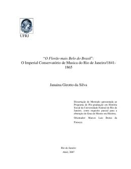 """UFRJ """"O Florão mais Belo do Brasil"""": O Imperial Conservatório de"""