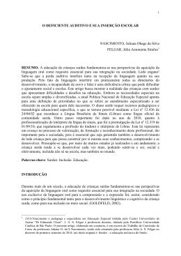O DEFICIENTE AUDITIVO E SUA INSERÇÃO ESCOLAR