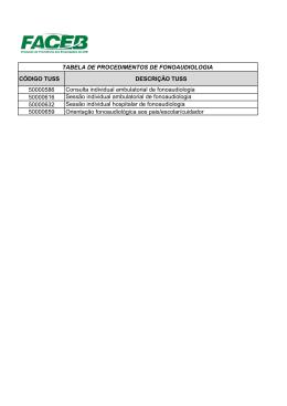 CÓDIGO TUSS DESCRIÇÃO TUSS 50000586 Consulta