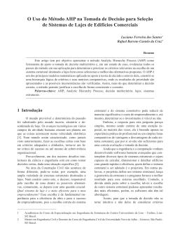 O Uso do Método AHP na Tomada de Decisão para Seleção de