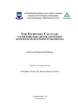 Ler, Escrever e Calcular - Universidade Federal de Campina Grande
