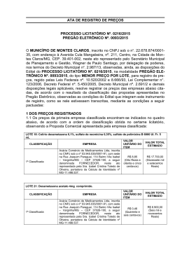 ATA DE REGISTRO DE PREÇOS - Prefeitura de Montes Claros-MG