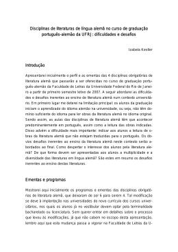 Disciplinas de literaturas de língua alemã no curso de