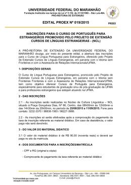 edital proex nº 019/2015 - Universidade Federal do Maranhão