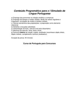 Conteúdo Programático para o I Simulado de Língua