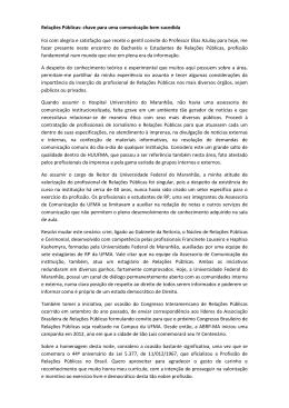 Relações Públicas - Universidade Federal do Maranhão