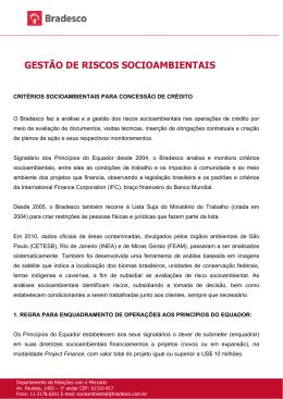 GESTÃO DE RISCOS SOCIOAMBIENTAIS