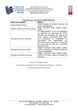 Relação das Inscrições INDEFERIDAS: