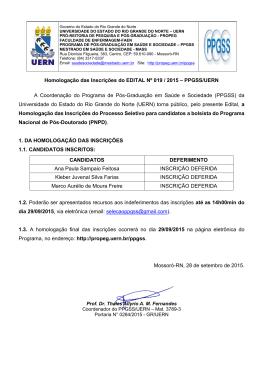 Homologação das Inscrições do EDITAL Nº 019 / 2015 – PPGSS