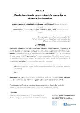 ANEXO III Modelo de declaração comprovativa de