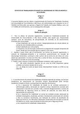 ESTATUTO DE TRABALHADOR-ESTUDANTE DA
