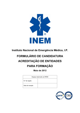 formulário de candidatura acreditação de entidades para