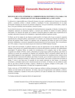 denuncia de acto antisindical: gobierno dilma escenifica - Andes-SN